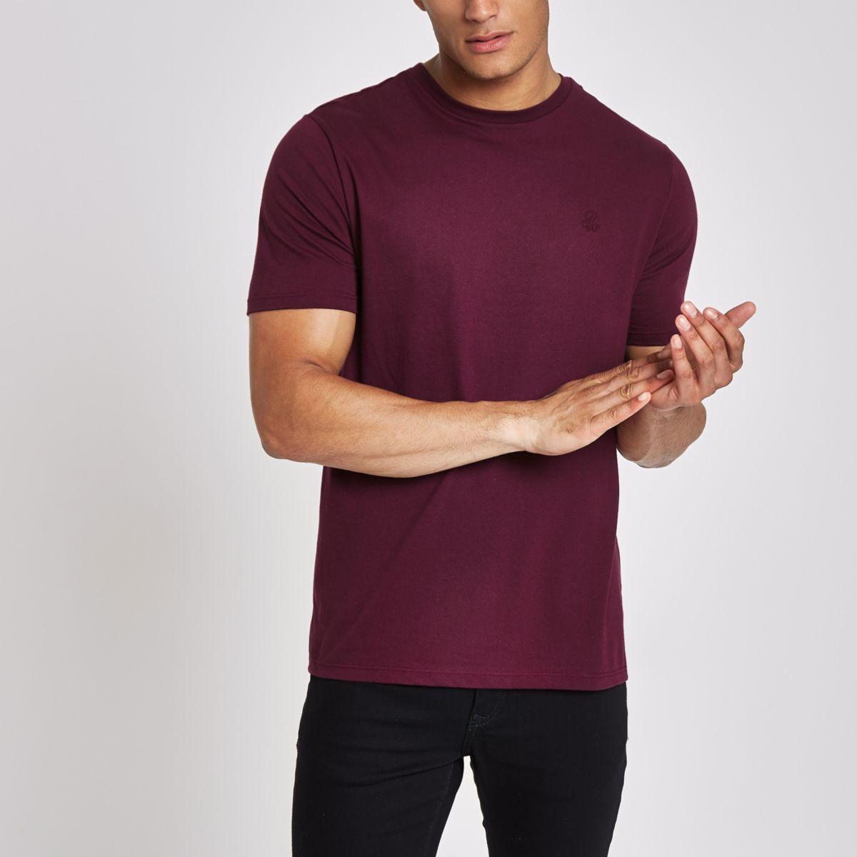 Dark red 'R96' slim fit short sleeve T-shirt