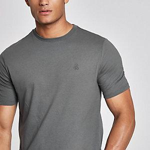 "Dunkelgraues, kurzärmliges Slim Fit T-Shirt ""R96"""