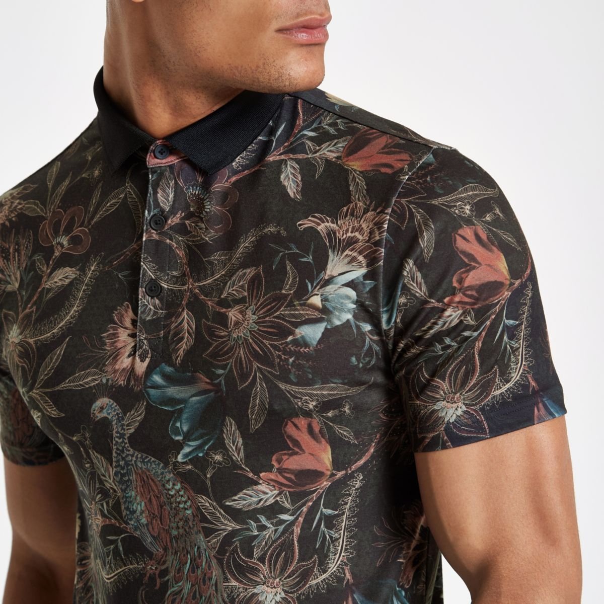 Dark green floral print muscle fit polo shirt