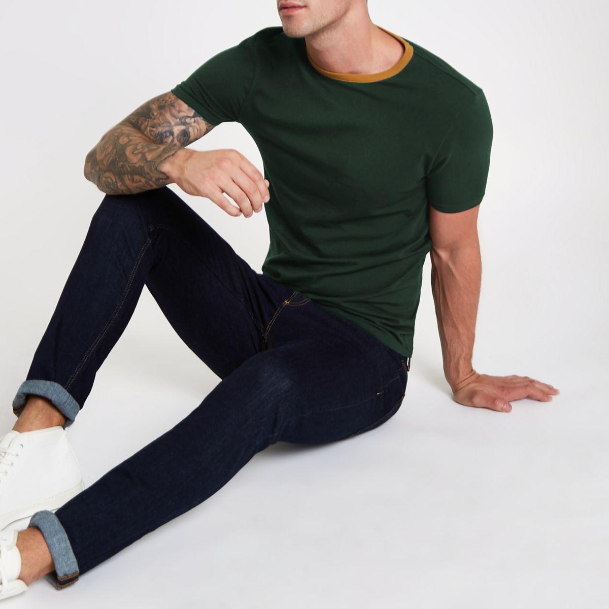 Dark green ringer muscle fit T-shirt