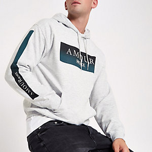 Lichtgrijze hoodie met 'amour'-print