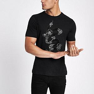 Zwart slim-fit T-shirt met slangenappliué