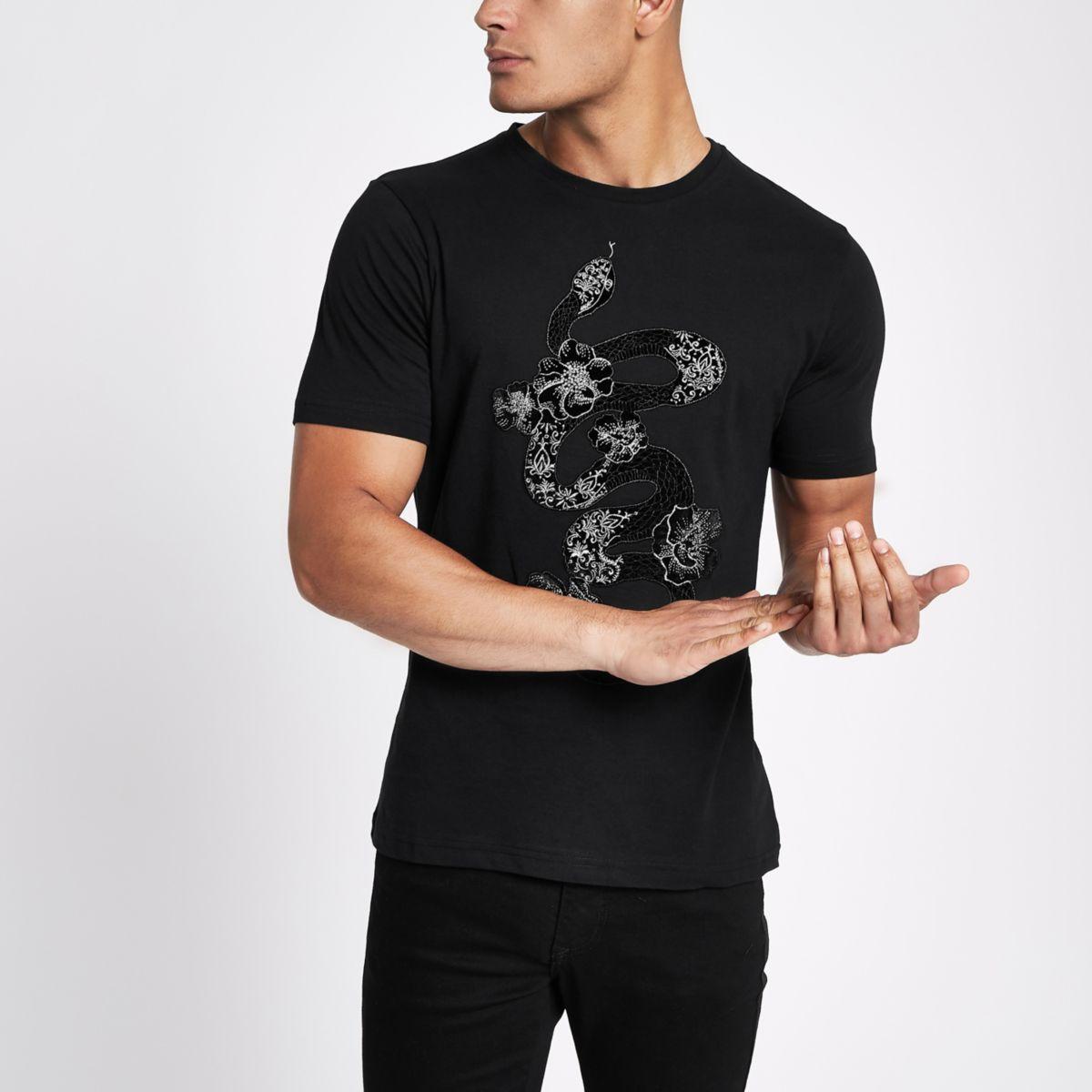 Black snake applique slim fit T-shirt