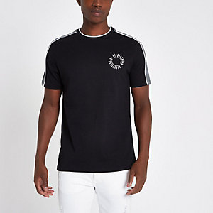 Black check panel crew neck slim fit T-shirt