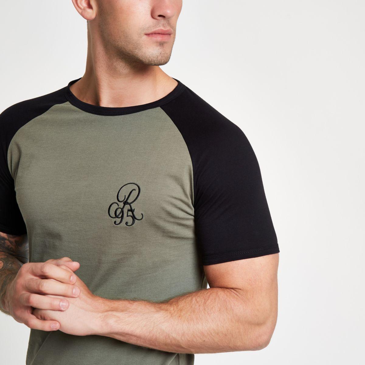 Dark green muscle fit raglan T-shirt