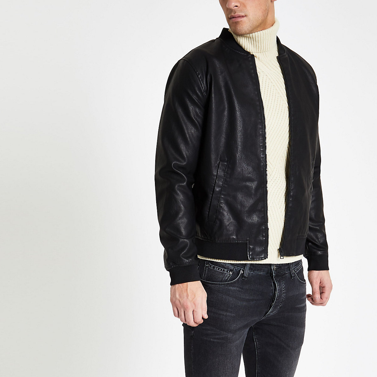 Only & Sons black bomber jacket
