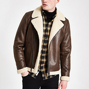 Only & Sons brown shearling aviator jacket
