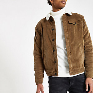 Only & Sons brown fleece cord jacket
