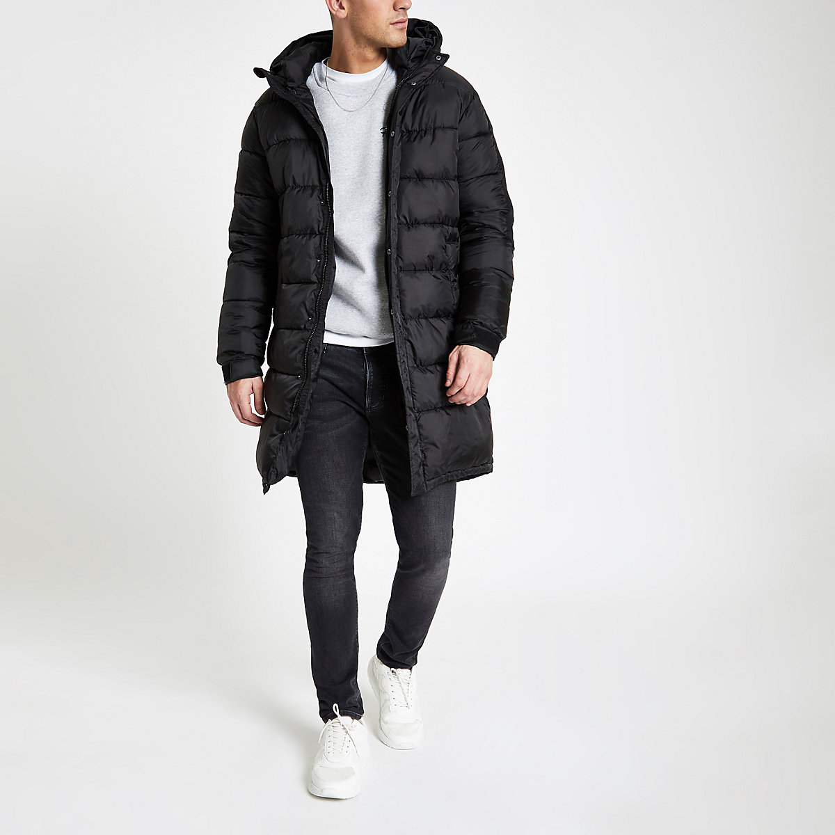 Only & Sons black oversize puffer jacket