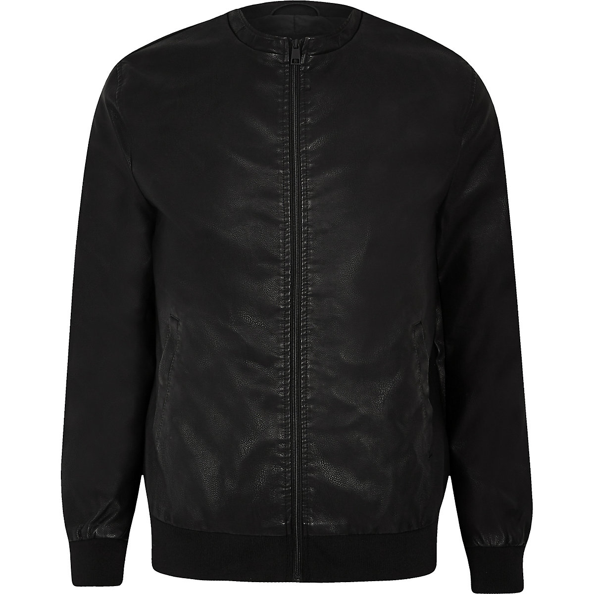 Only & Sons black faux leather bomber jacket