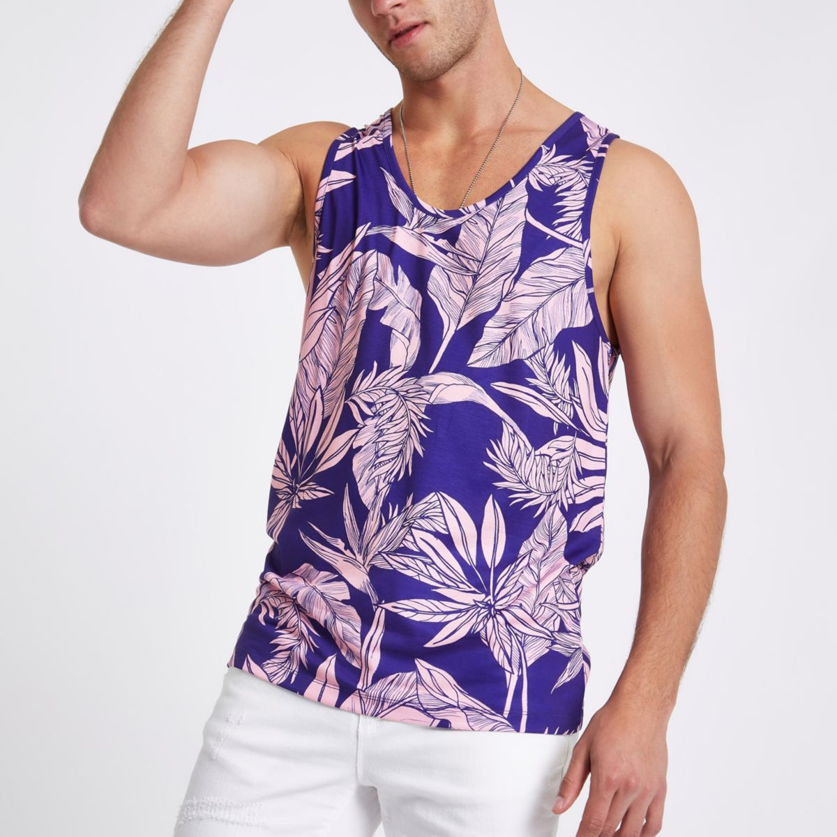 Blue palm print slim fit vest