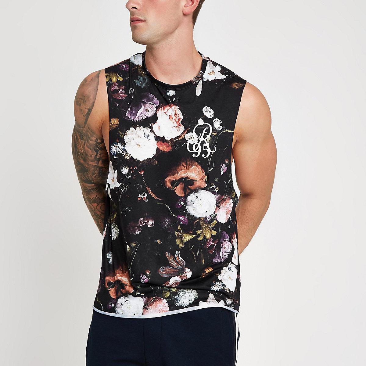 Black slim fit floral tank top