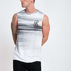 Grey fade print slim fit tank vest