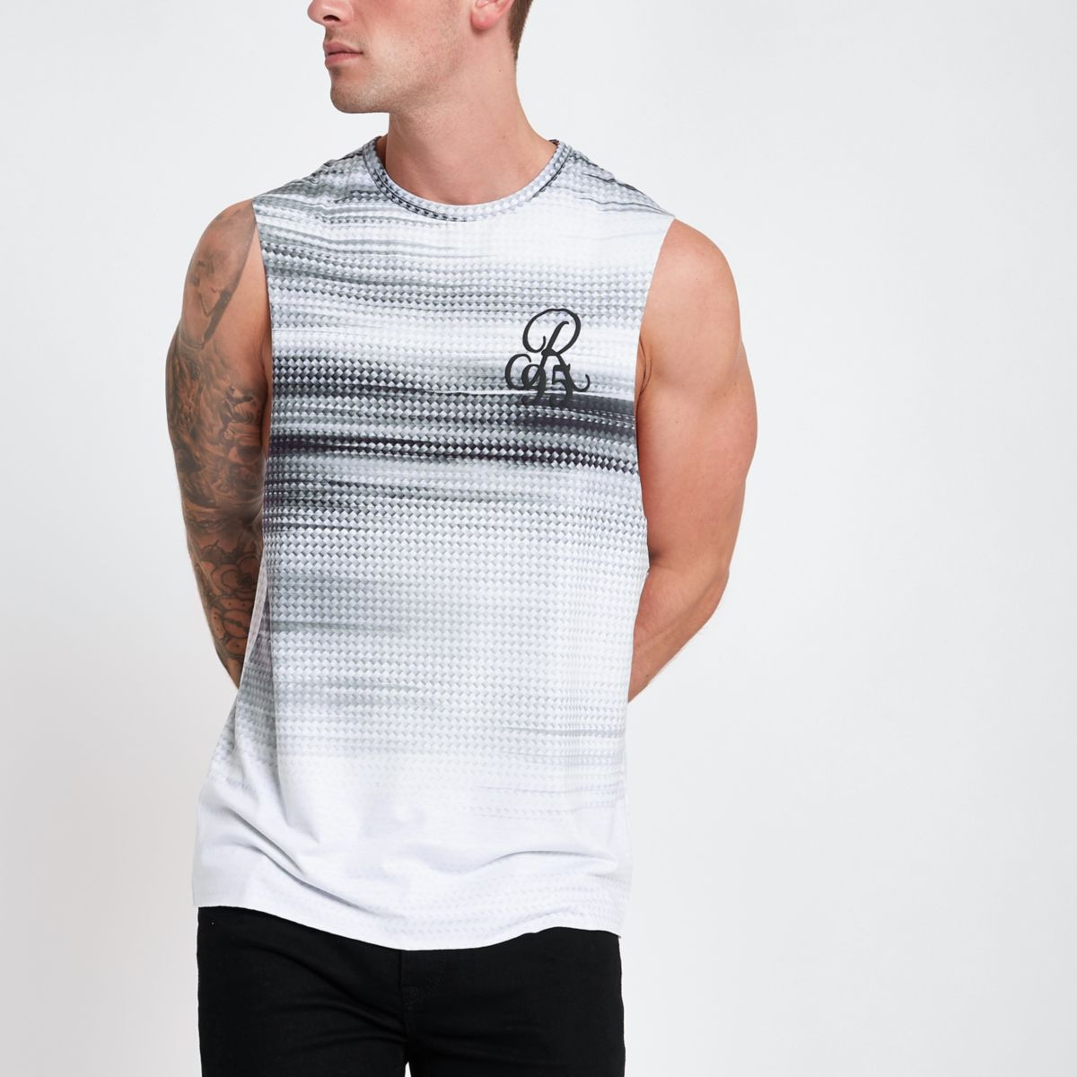 Grey fade print slim fit tank tank