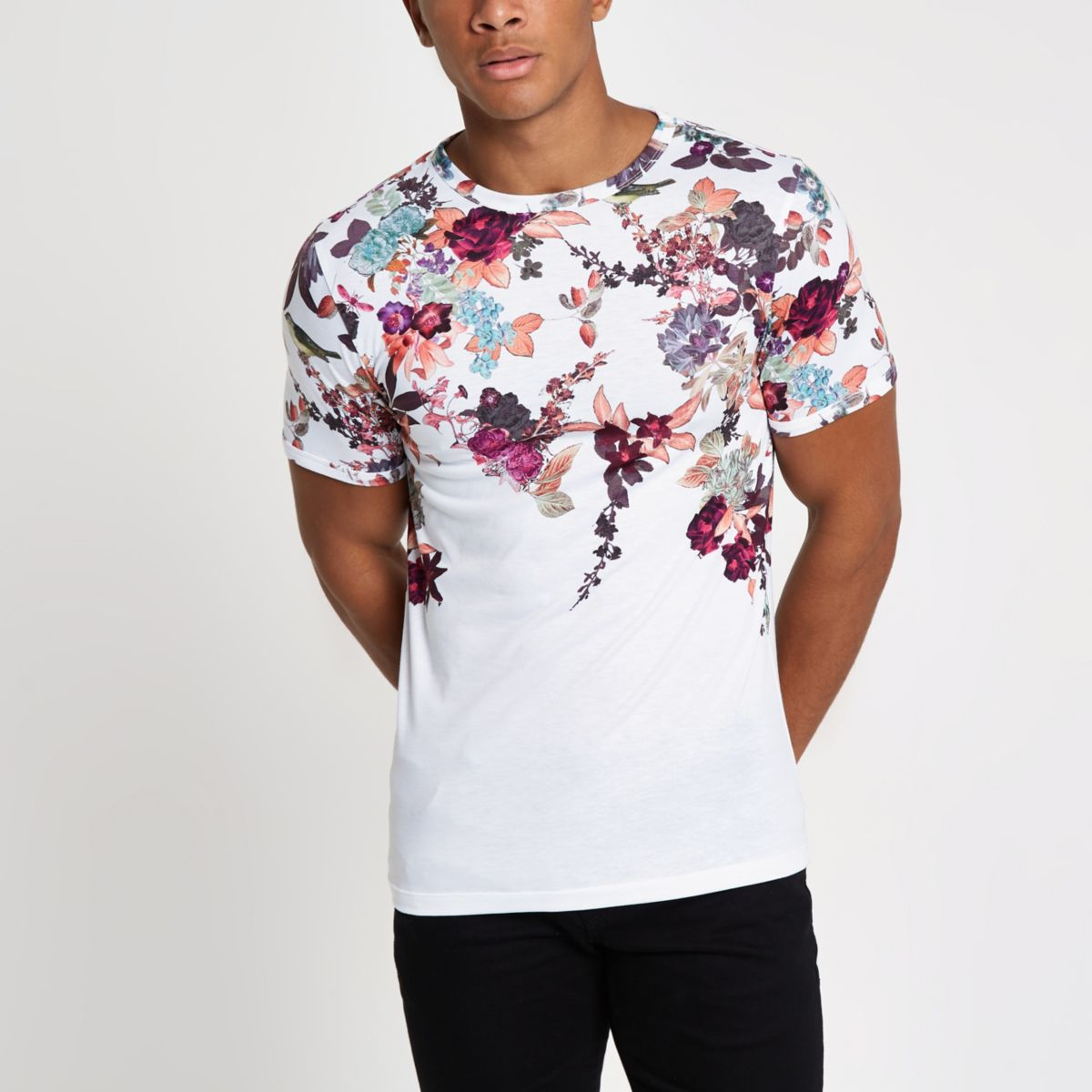 White muscle fit oriental print T-shirt