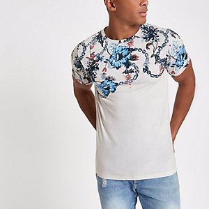 T-shirt slim à chaîne et fleurs grège