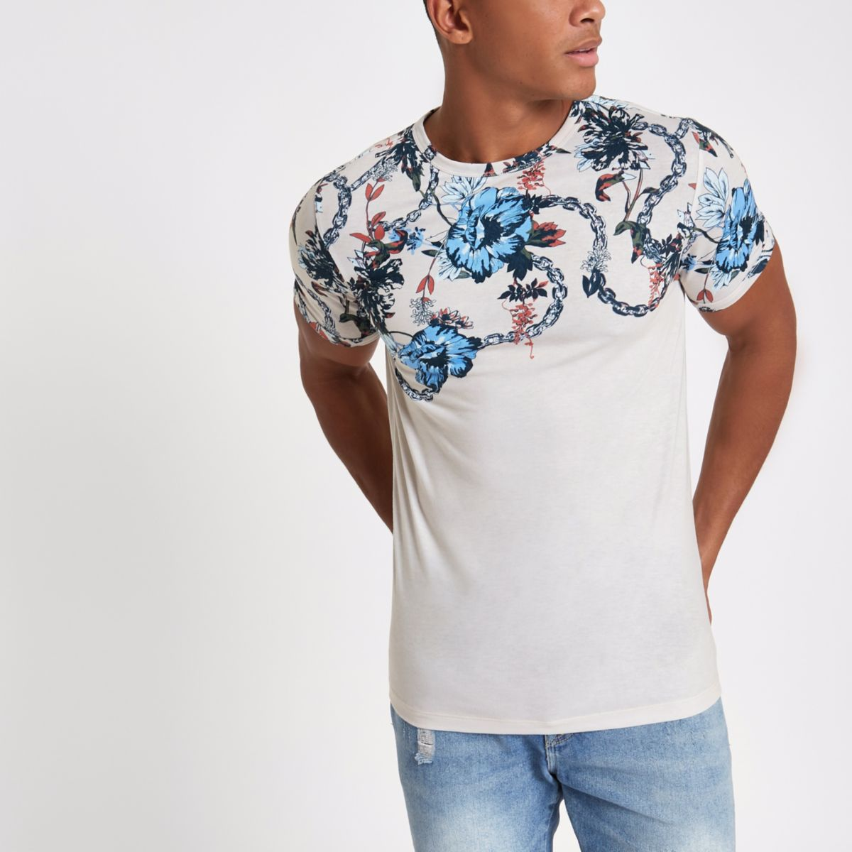 Stone floral chain slim fit T-shirt