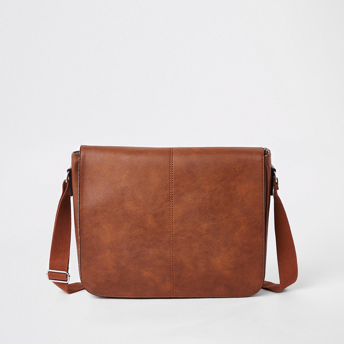 Brown faux leather flapover satchel bag