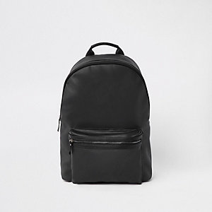 Black faux leather front pocket backpack