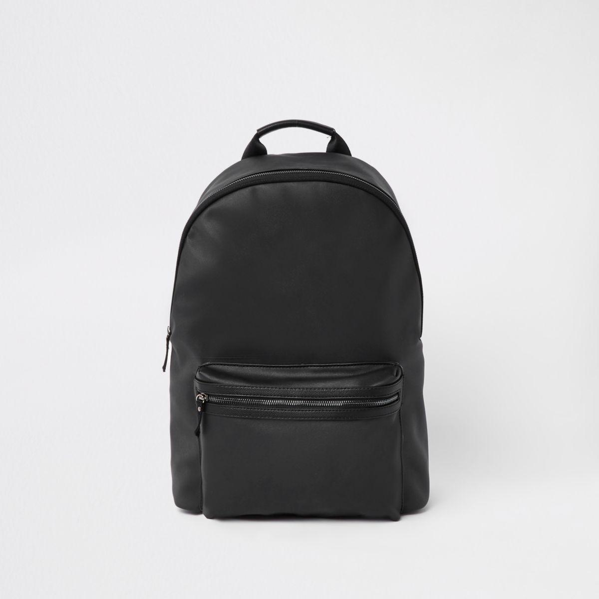 Black faux leather front pocket backpack