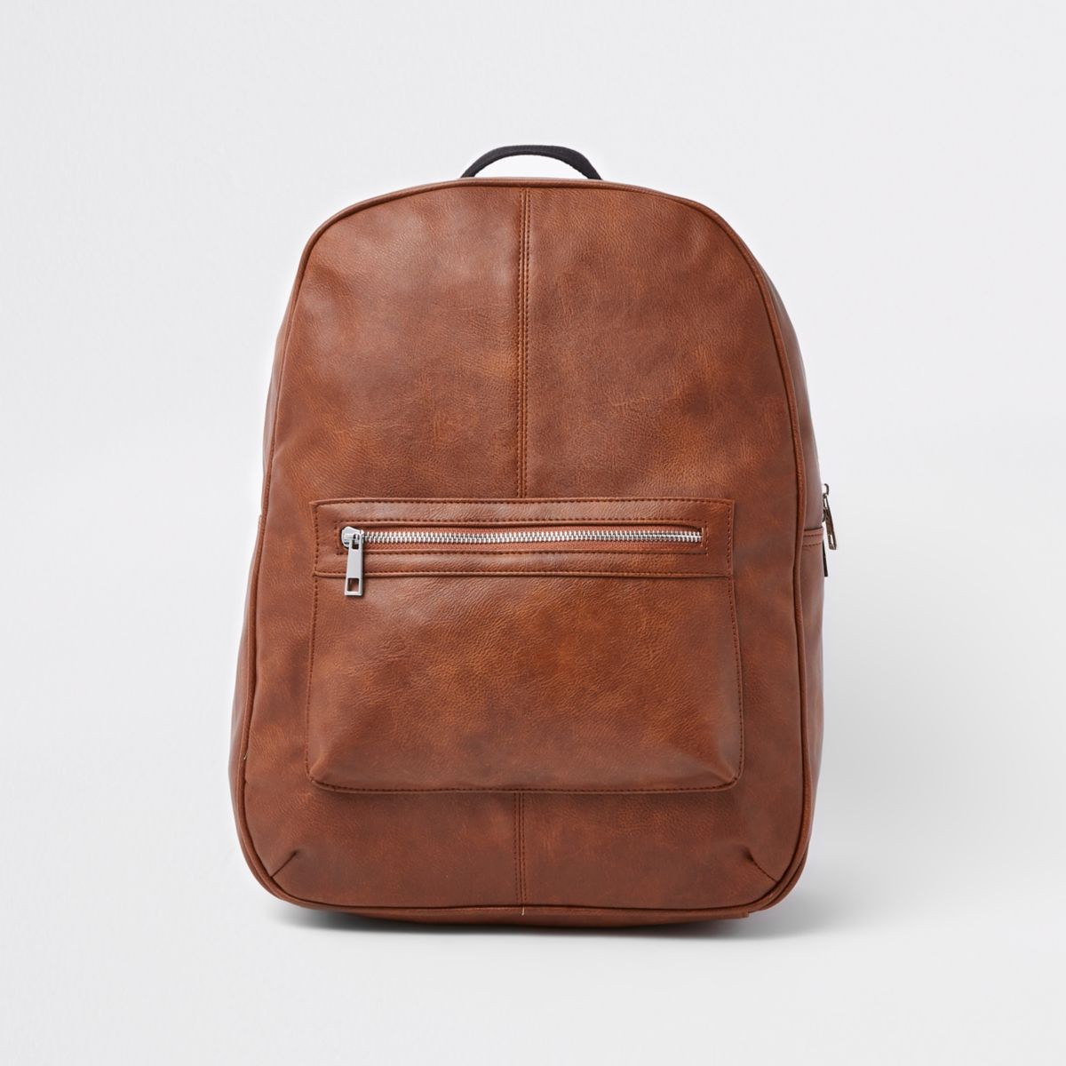 Brown faux leather front pocket backpack