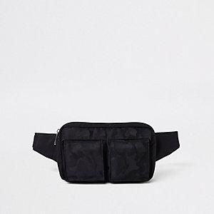 Schwarze Umhängetasche mit Camouflage-Muster