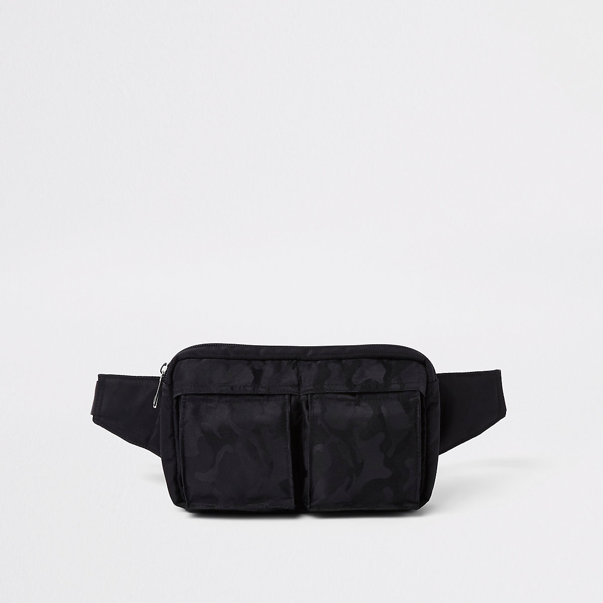 Black camo two pocket cross body bag