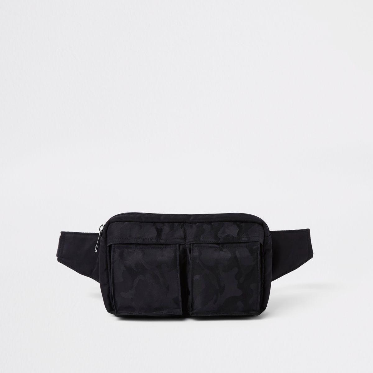Black camo two pocket cross body bag