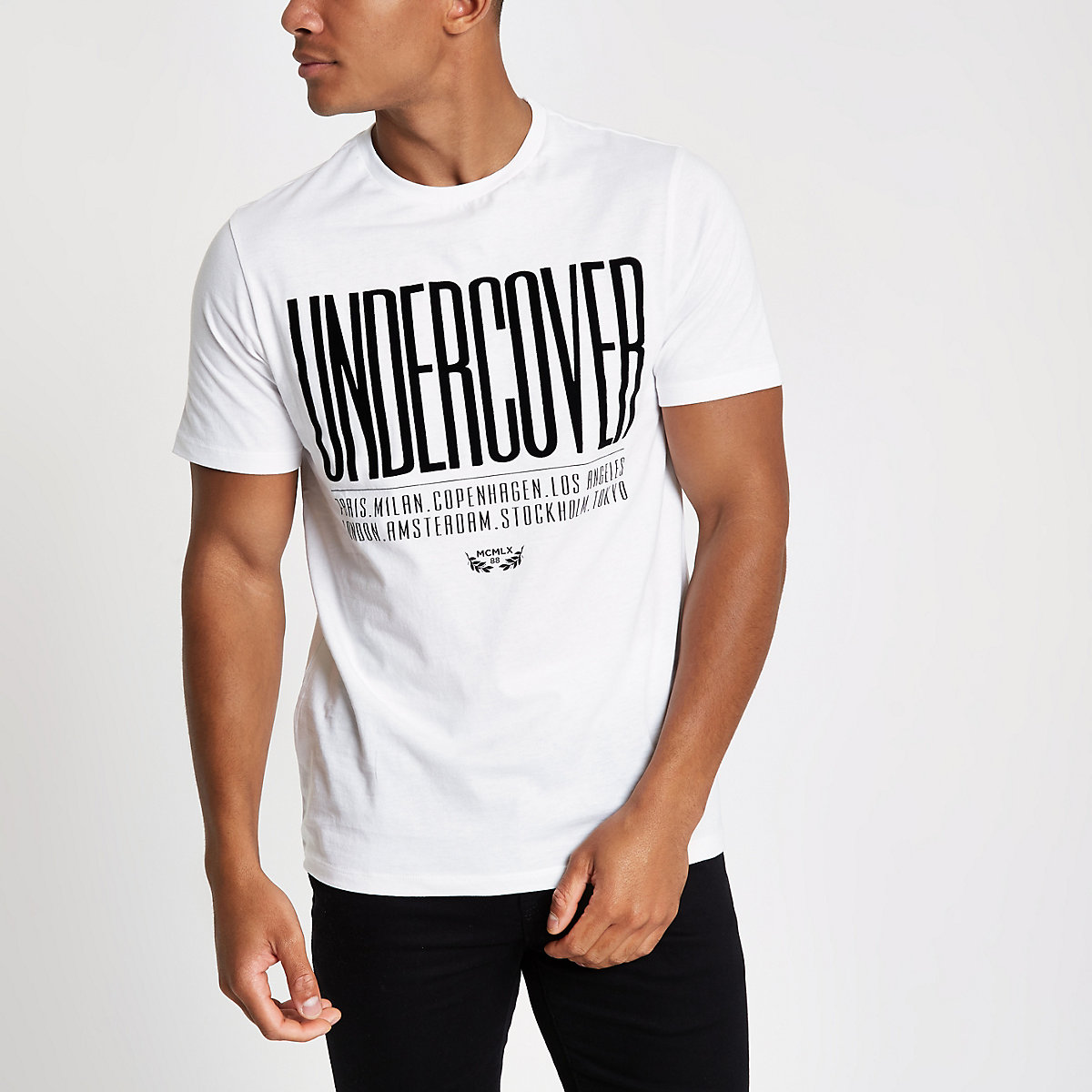 White slim fit 'undercover' print T-shirt