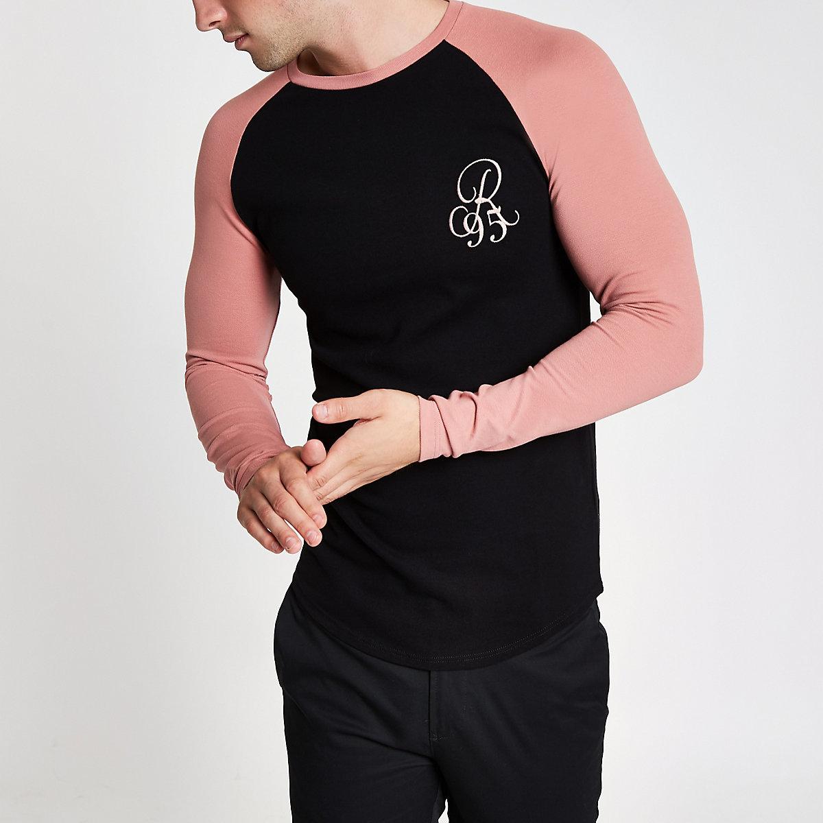 Black pique muscle fit raglan T-shirt