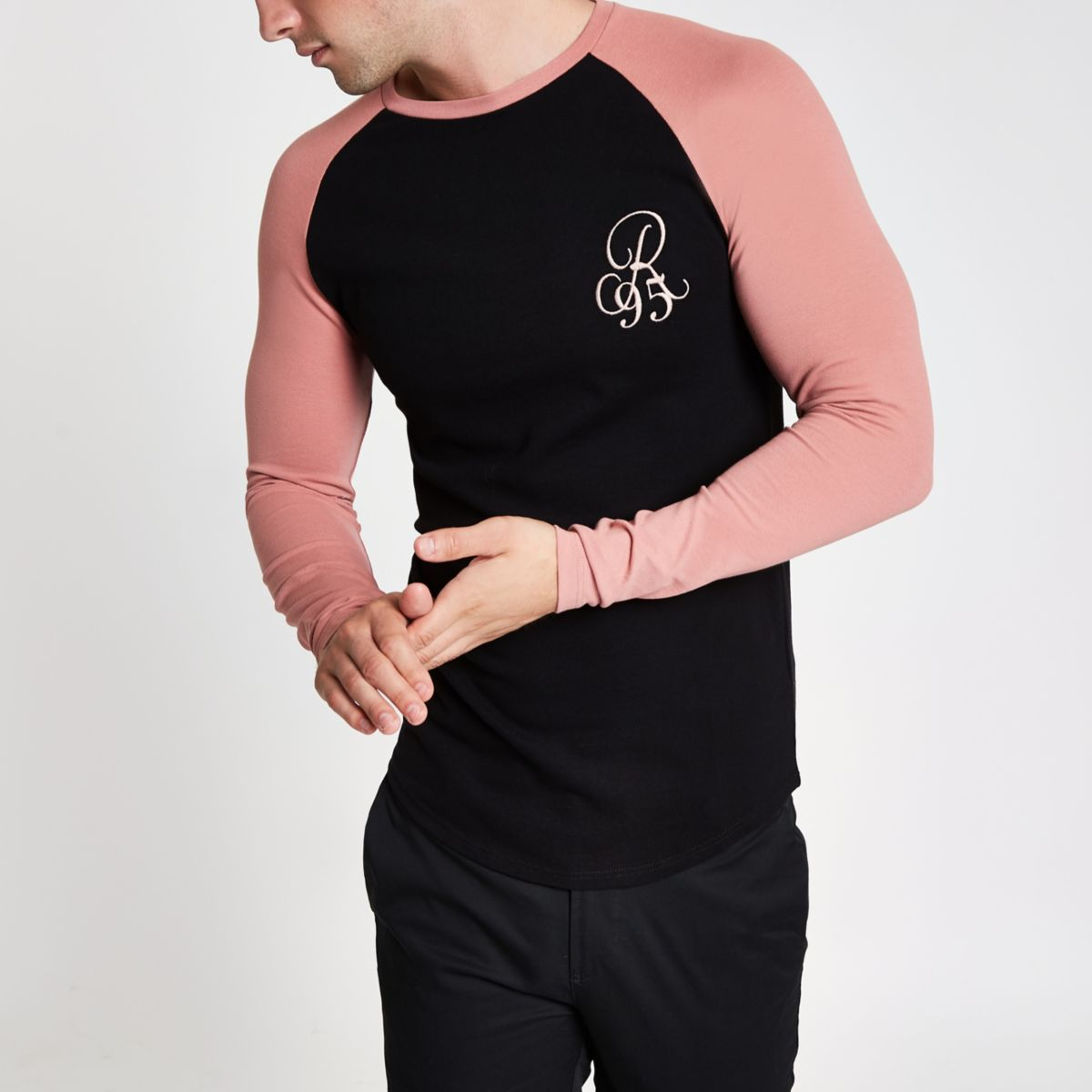 Black pique muscle fit raglan T-shirt