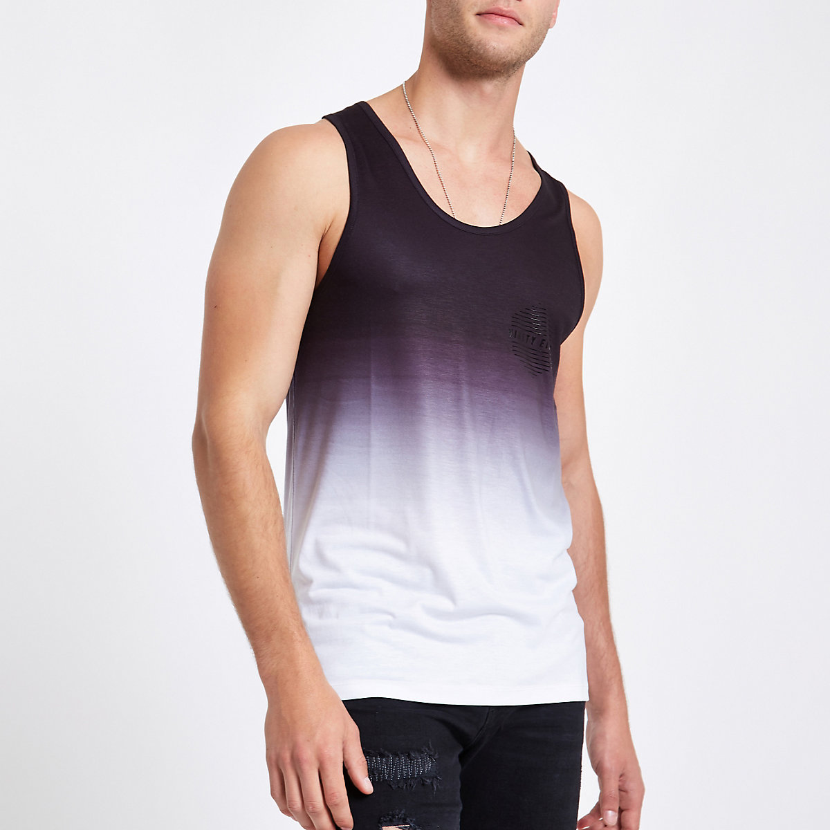Black fade 'ninety eight' slim fit vest