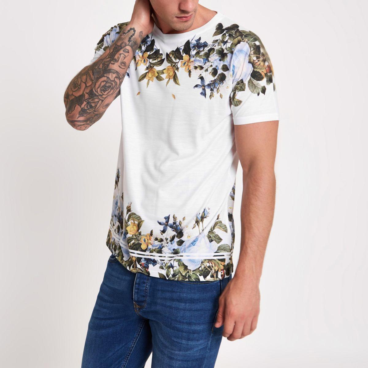 White floral print slim fit T-shirt