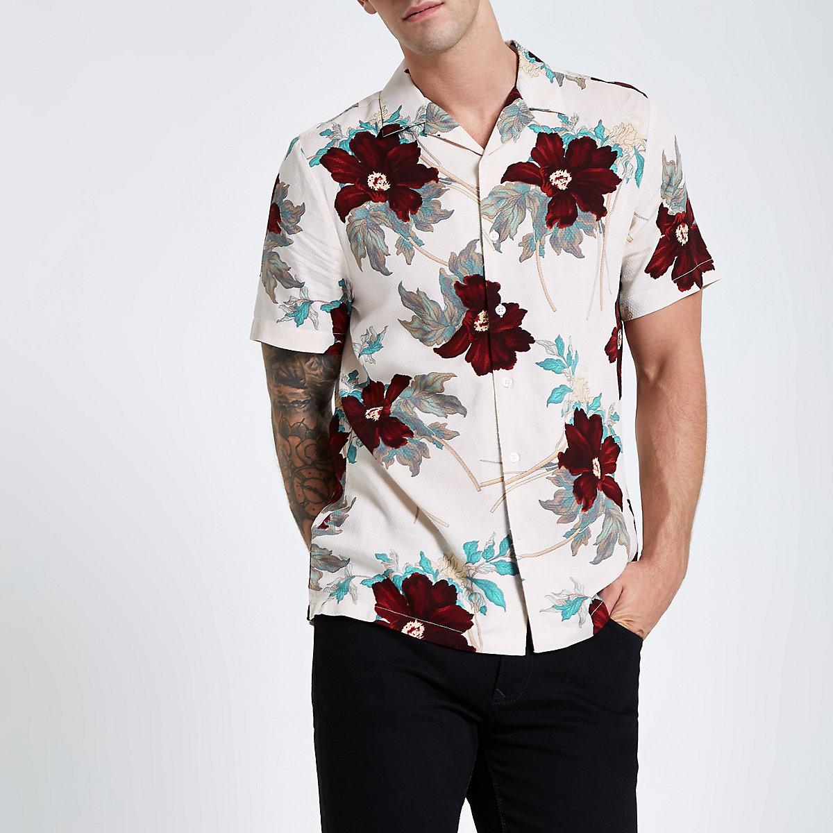Ecru floral print revere shirt