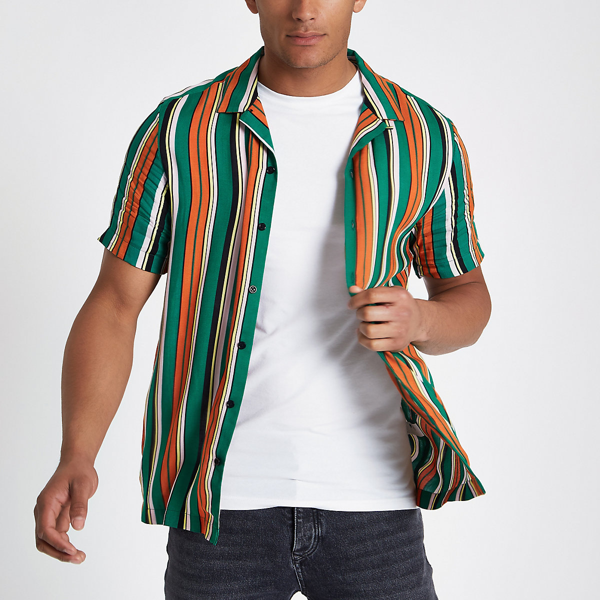 Green stripe short sleeve revere shirt
