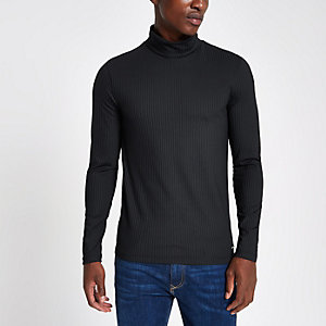 Navy rib roll neck muscle fit top
