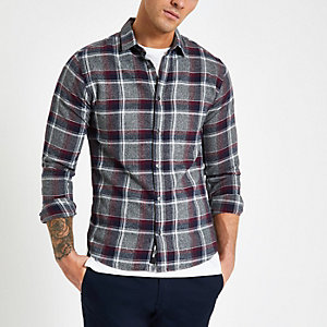 Only & Sons red check slim fit shirt