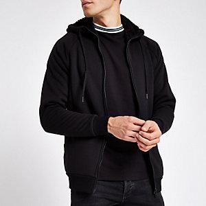 Only & Sons black teddy zip hoodie