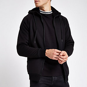 Only & Sons black teddy zip hoodie