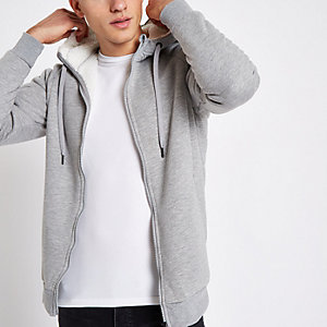 Only & Sons grey teddy zip hoodie