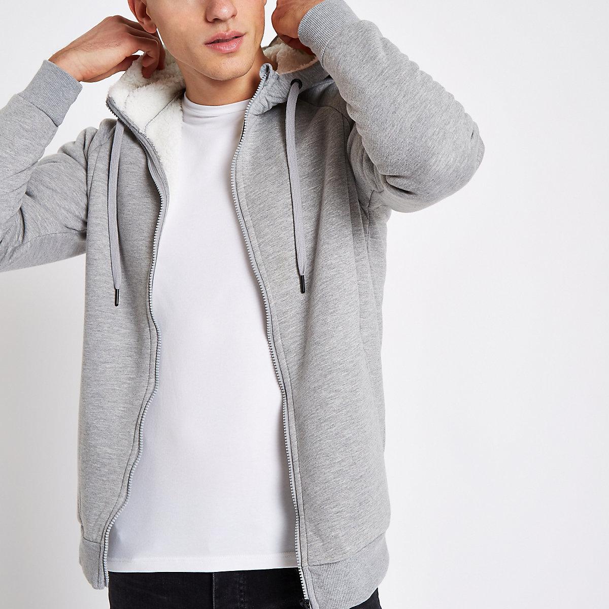 Only & Sons grey teddy zip hoodie