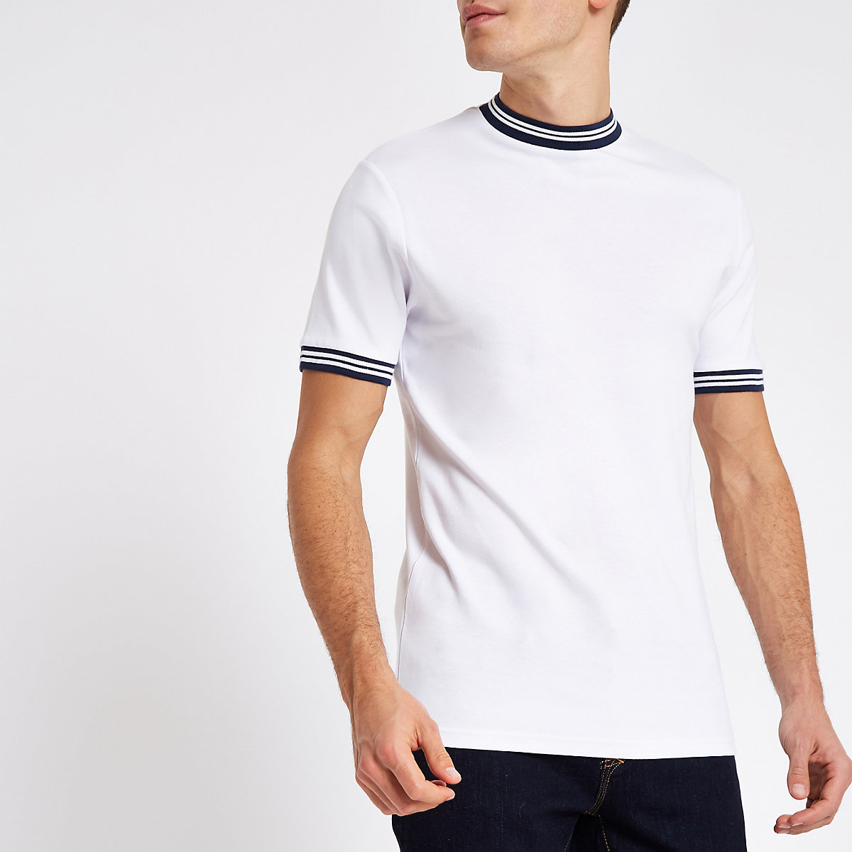 Only & Sons white tipped T-shirt