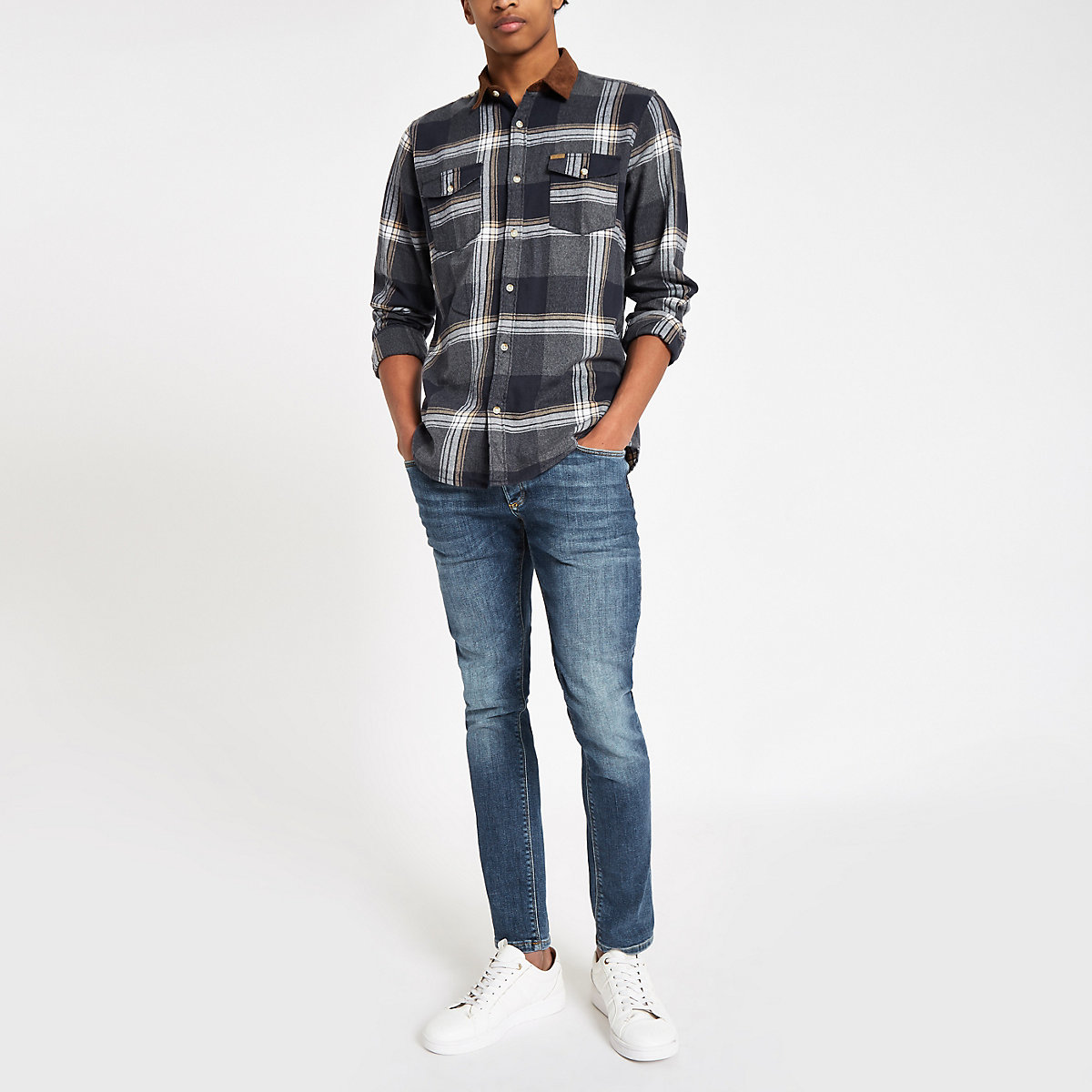 Only & Sons brown check long sleeve shirt