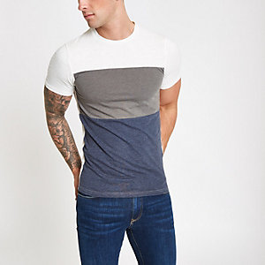 Only & Sons white colour block T-shirt