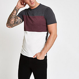 Only & Sons dark grey colour block T-shirt