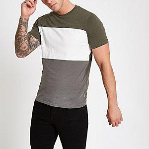 Only & Sons khaki colour block T-shirt