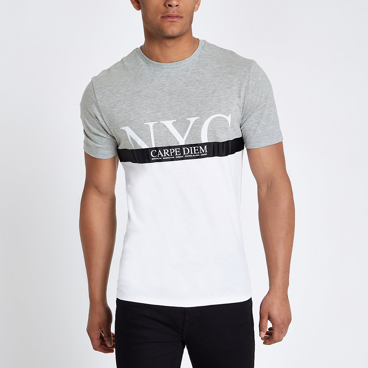 Grey 'carpe diem' tape block print T-shirt