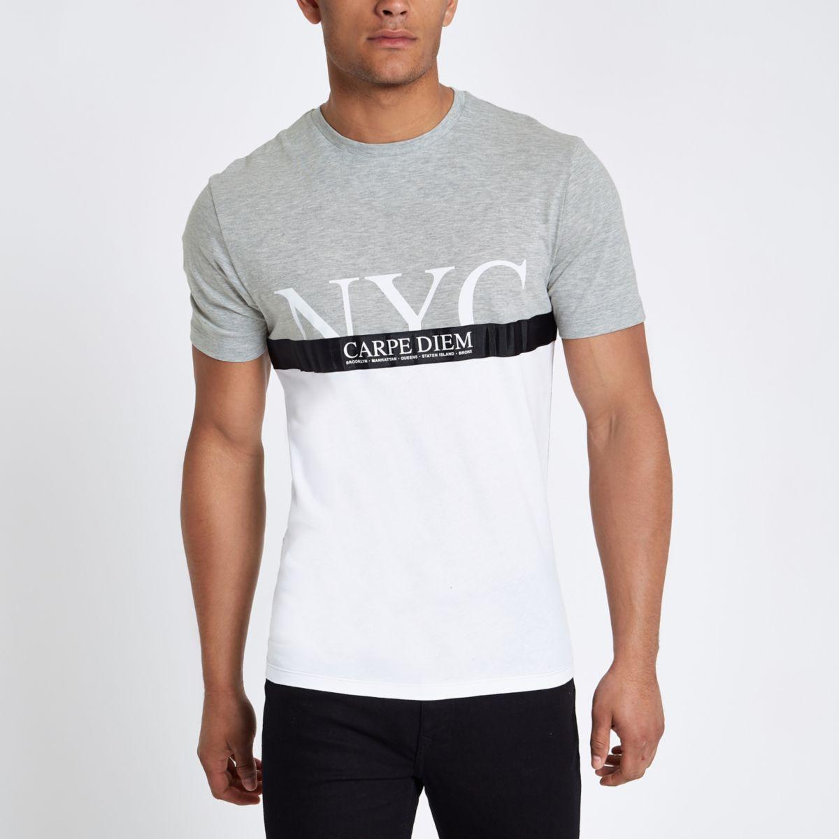 Grey 'carpe diem' tape block print T-shirt