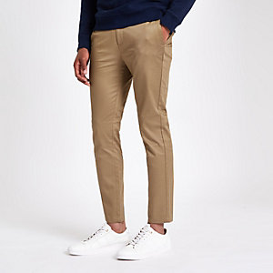 Light brown skinny cropped trousers