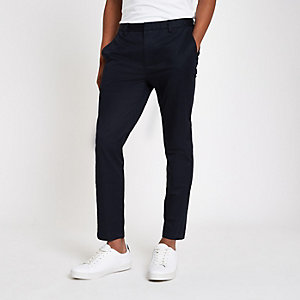 Navy skinny cropped trousers